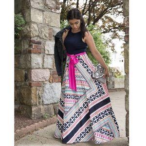ELIZA J JERSEY & PRINT MAXI DRESS